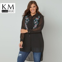 Kiss Milk Kissmilk Plus Size Womens Tops And Blouses Fashion Floral Embroidery Blouse Black Long Sleeve