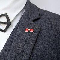 Doreenbeads-broches de moda para hombre, accesorios de moda, Color dorado, redondo, rojo, azul, estilo de gafas, regalo de personalidad de gran tamaño, 1 pieza