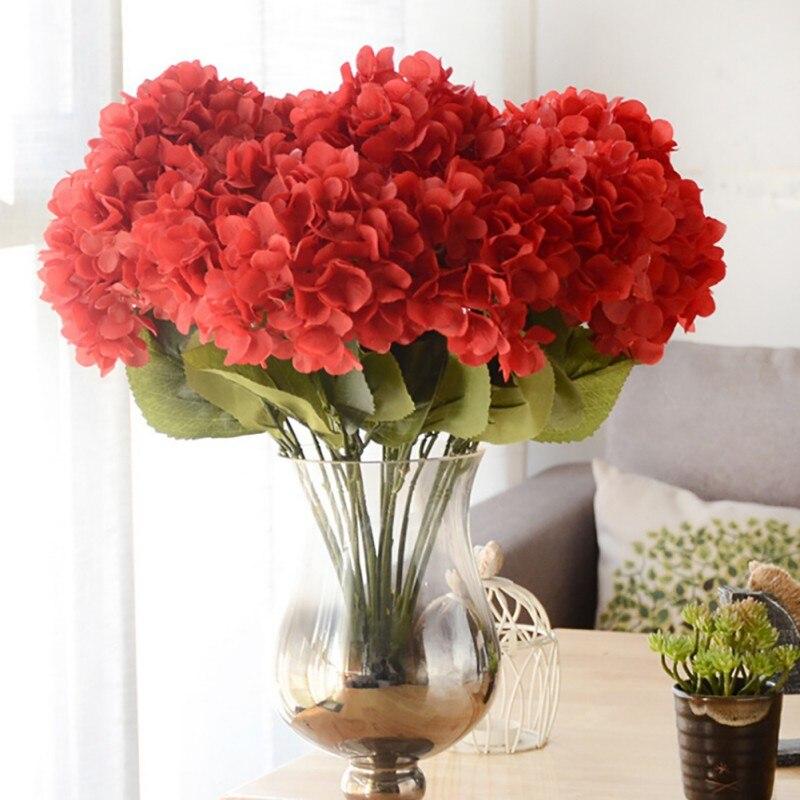 இ8 Colors 1 Bunch Fake Artificial Hydrangea Flower ball Bouquet ...