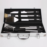 Hot Sale 6pcs Stainless Steel BBQ Tool Set Barbecue Cooking Tools Kit with Metal Case
