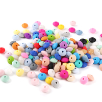 TYRY.HU 1000Pc 12mm Silicone Lentil Abacus Beads Baby Teething Beads BPA Free Baby Teether Necklace Pendant Pacifier Chain toys