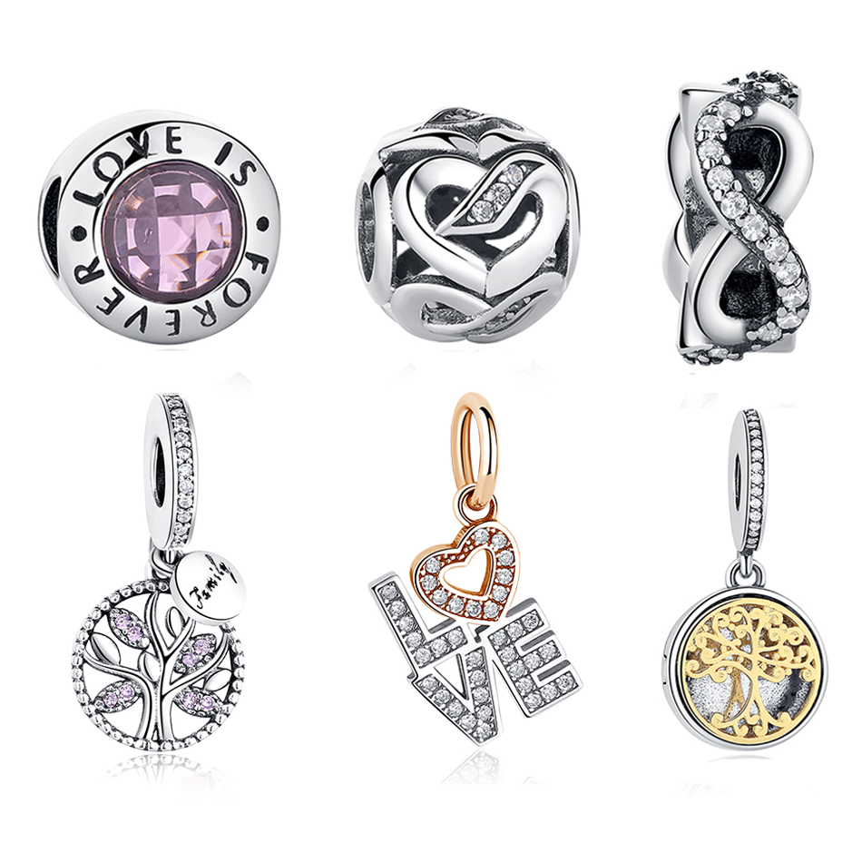 100% 925 Sterling Silver Beads Family Tree Love Heart Charm Beads Fit Original Pandora Charms Bracelet Authentic Women Jewelry