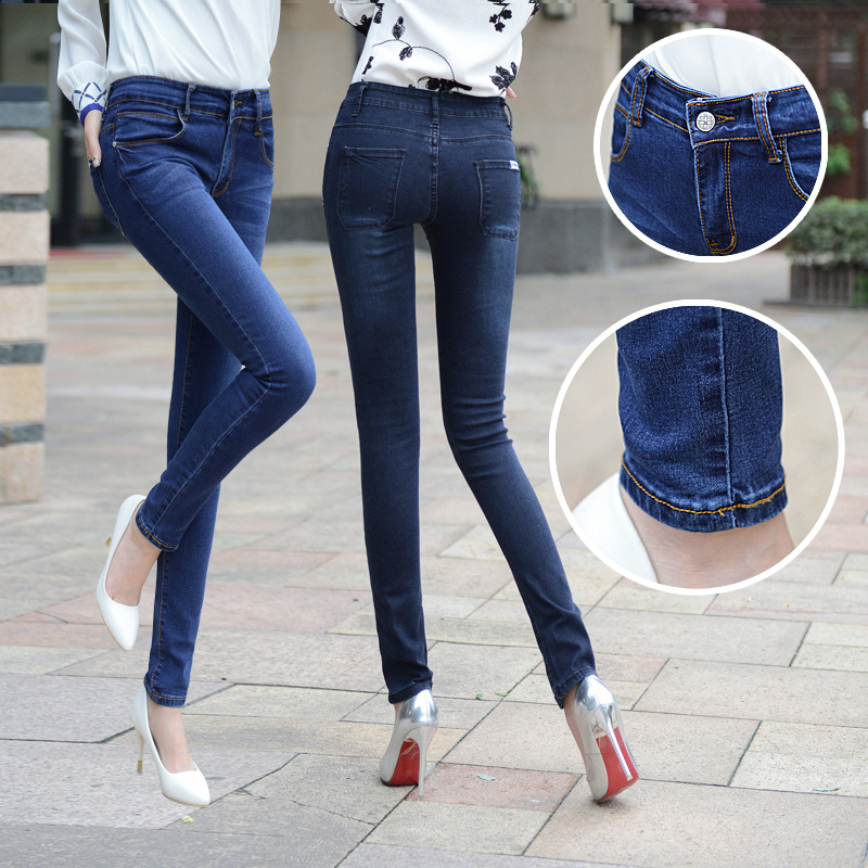 New Jeans For Women Elasticity Cotton Fashion Jeans Thin Slim Pencil Pants Denim 2 Color Skinny Feet Trousers High Waist Jeans new design skinny mens jeans men brand fashion male casual cotton slim straight elasticity pants loose waist long trousers denim