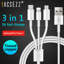 Get more info on the !ACCEZZ 3 in 1 USB Cable For iPhone X 7 Charging Charger With Micro USB Type C 8Pin Port 3A Fast Charge For Xiaomi Huawei Cables