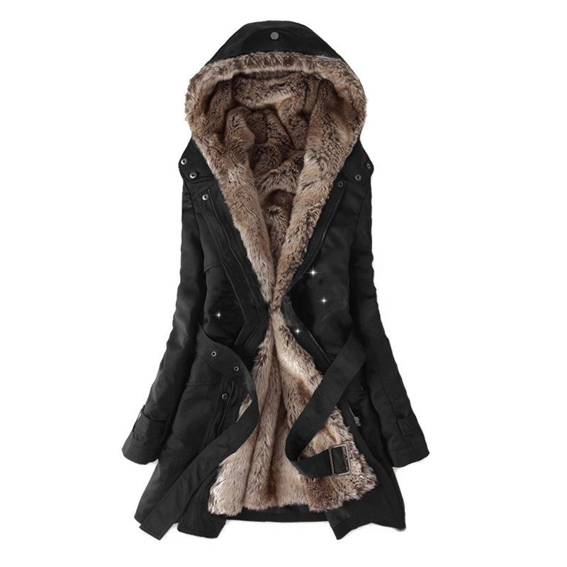 Women Cotton Coats Casual Warm Winter Black Office Lady Plus Size Hooded Zipper Solid Rivet Green Female Fashion   Parkas   Overcoat