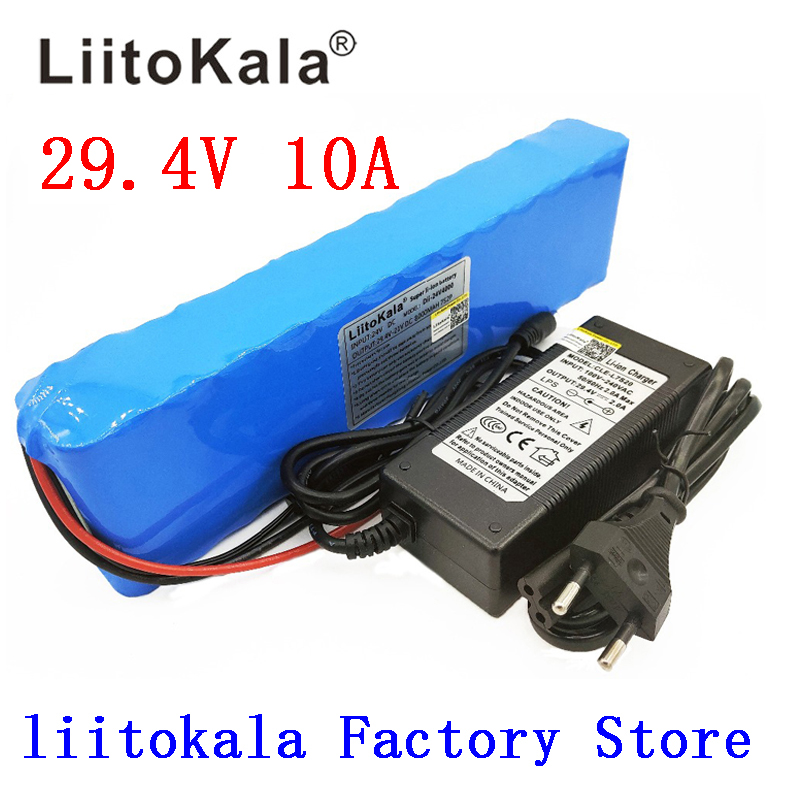 Liitokala DC 24V <font><b>10ah</b></font> 7S4P batteries 15A BMS 250W 29.4 V 10000 mAh Battery for motor chair set Electric Power + <font><b>29.4V</b></font> 2A charger image