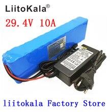 Liitokala bateria dc 24v, baterias 10ah 7s4p 15a bms 250w 29.4 v 10000 mah para conjunto de cadeira de motor carregador elétrico + 29.4 v 2a