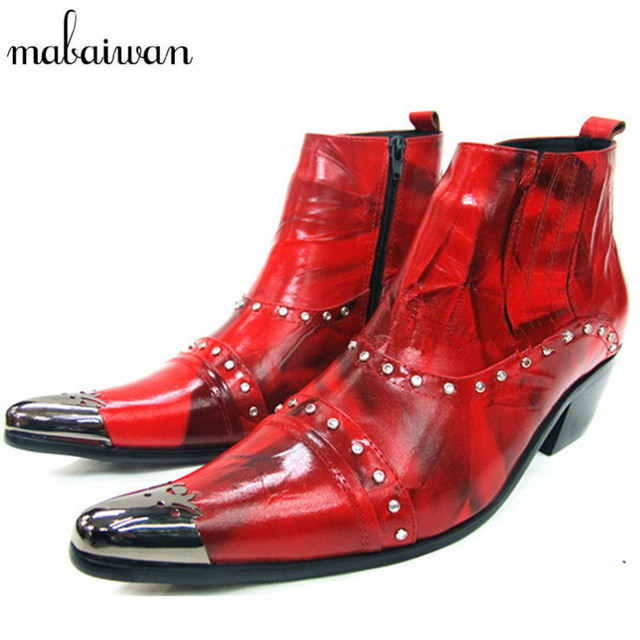 Fashion Red Genuine Leather Men Ankle Boots Metallic Pointed Toe Mens Dress Shoes High Top Botas Hombre Cowboy Boots