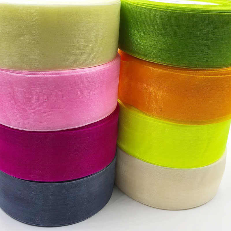 40mm Width 5 Meters/package Solid Color Organza Ribbons