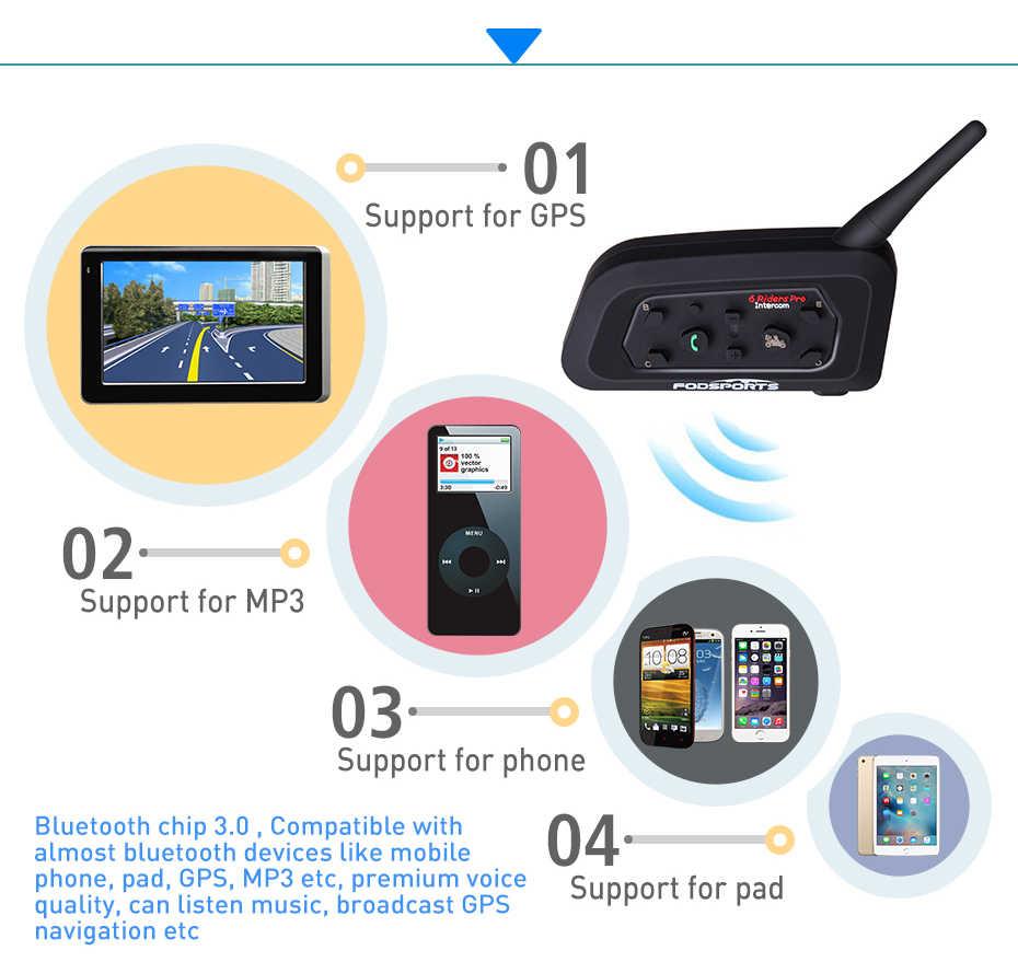 abd5d836704 ... Fodsports 2PCS V6 Pro Helmet Bluetooth Headsets Motorcycle Intercom for  6 Riders BT Wireless Intercomunicador Interphone ...