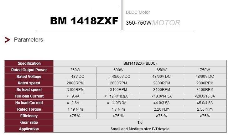 UNITEMOTOR BM1418ZXF 500 W 48 V Bürstenlosen DC Motor Elektrische Dreirad Motorrad Motor Motor E Trishaw Auto Mitte Stick rad Motoren - 4