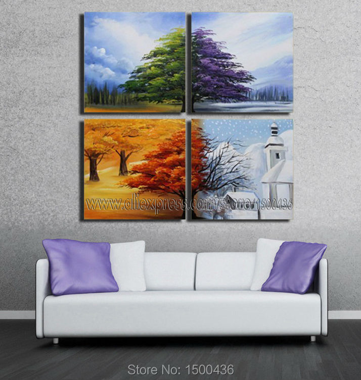 Hand Painted Abstract 4 Season Painting Tree Canvas Art Landscape ...