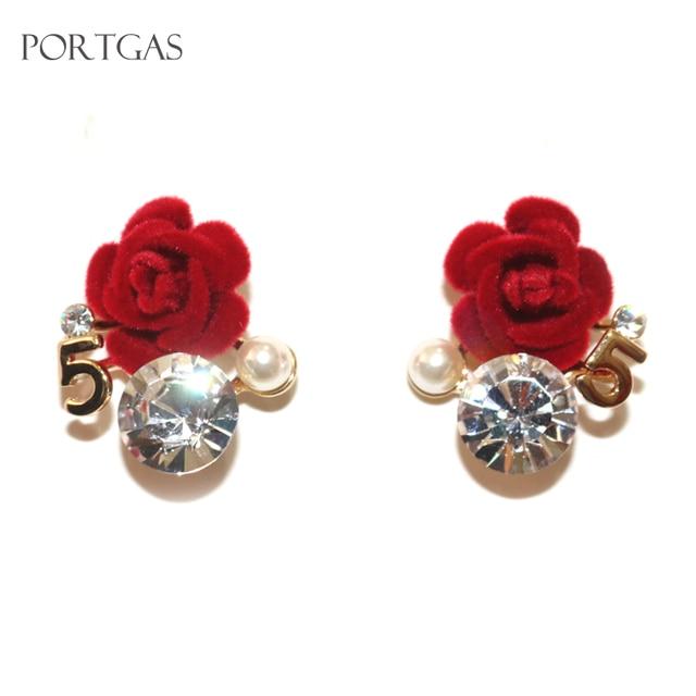 Big Crystal Camellia Flower No.5 Stud Earrings for Women Pearl Earrings  Luxury Camellia Earring 167b9692bcf6