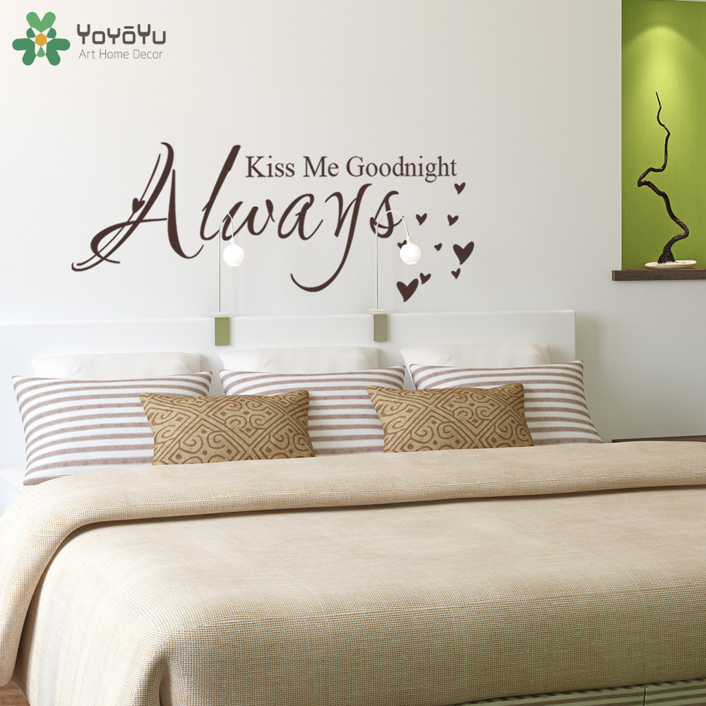 US $5.9 28% OFF|YOYOYU Quote Wall Decal Always Kiss Me Goodnight Master  Bedroom Wall Stickers Headboard Vinyl Removable Home Decor Art DIY SY473-in  ...