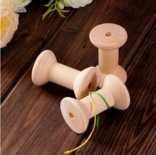 Free Shipping wholesale  7cm Natural color Wooden Bobine Classic style DIY tool wood roll Spool 10pcs 15006002005