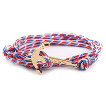 1 Pcs Sell Fashion Wrap Bracelets Personality Navy Wind Boat Anchor Black Rope Bracelet Men and Women Metal Hand Catenary(China)