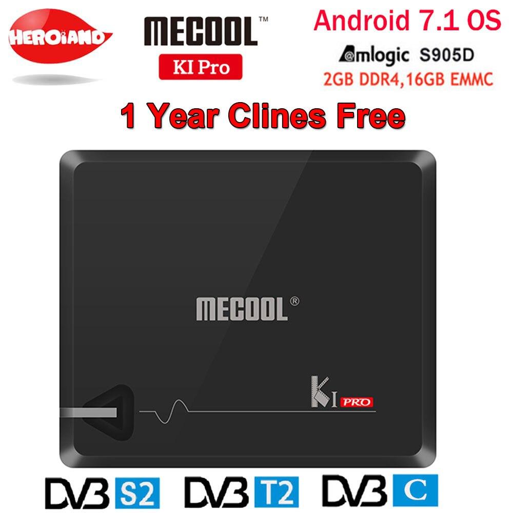KI PRO 2 GB/16 GB DVB-T2 DVB-S2 DVB-C Android 7.1 TV Box Amlogic S905D Dual WIFI Ricevitore Satellitare HD + 1 Anno Clines Europa Server