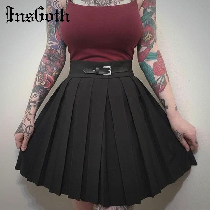 Women Pleated Skirts Harajuku Solid Black Lattice High Waist Punk Skirts Summer Slim Belt Casual Streetwear Female Short Skirts