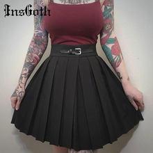 Femmes jupes plissées Harajuku solide noir treillis taille haute Punk jupes été mince ceinture décontracté Streetwear femme jupes courtes