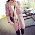 Casaco Outwear Breasted V Neck Bolso Crochê Blusas Longo Casaco de Lã Das Mulheres 2016 Moda Das Mulheres Novas Quentes Para O Inverno de Espessura A970