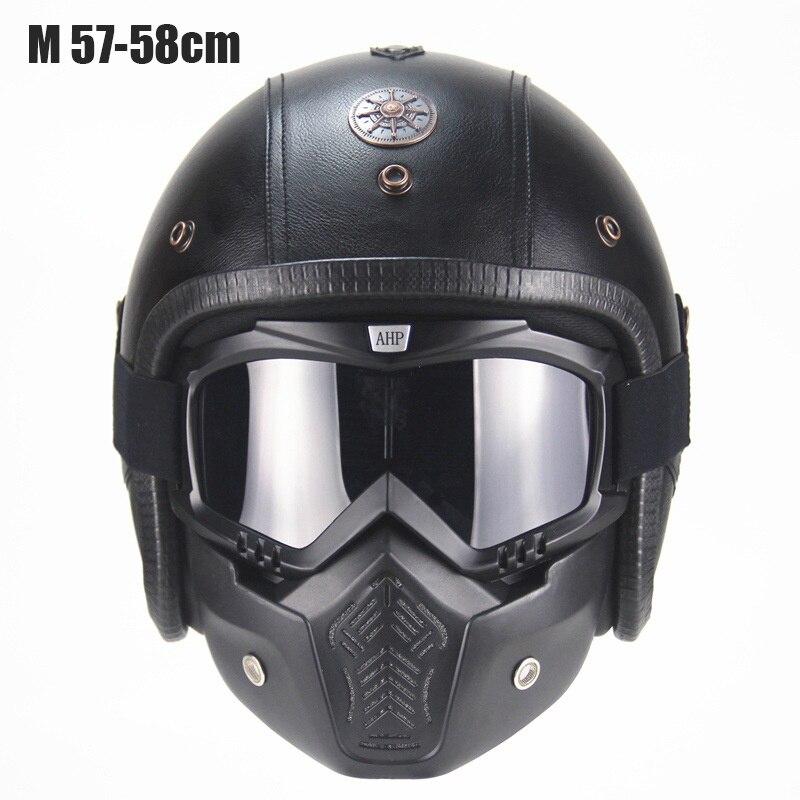 Casque moto lunettes rétro masque Vintage ouvert visage masque Cross casque lunettes