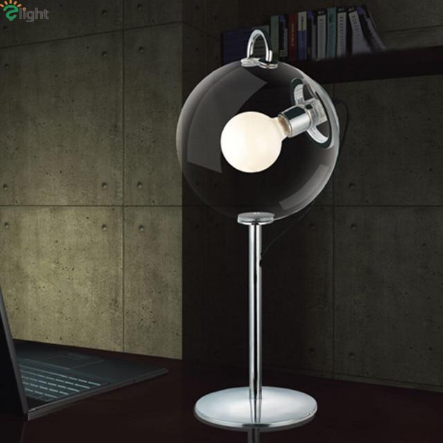 Nordic Simple Clear Glass Ball E27 Led Table Lamp Lustre Chrome Metal  Bedroom Led Table Lights