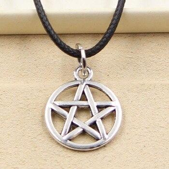 Nouvelle mode tibétain argent couleur étoile pentagramme pendentif collier ras du cou breloque en cuir noir cordon prix usine bijoux faits à la main