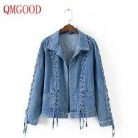 QMGOOD Sokak Stil Kadın Bandaj Denim Ceket Lace Up Patchwork Coat Avrupa Amerika Vogue Serin Jean Ceket Lady Bandaj Ceket