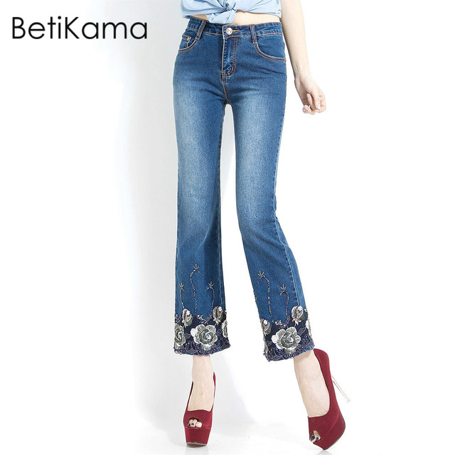 fac5bd67bcd33 Oversized Jeans Woman With Embroidered Jeans Female Softener Denim Flare  Pants High Waist push up Beading