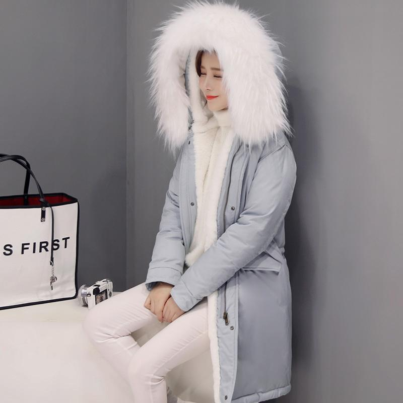 Women Winter Warm Coat Big Fur Collar Long Coats Cotton-padded Solid Thicken Outerwear Ladies Casual Hooded Down Cotton Jackets 2016 winter jacket women down coat fur hooded vest down coats vest pant underwear women s suit thicken set outerwear trousers