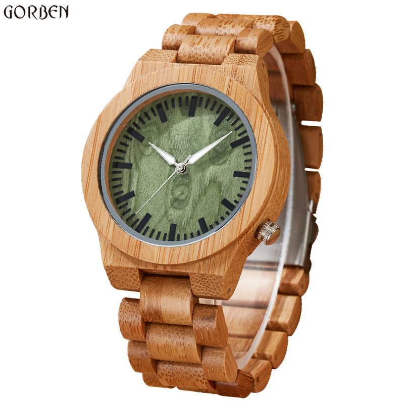 2017 Gorben Luxury Brand New Wood Watch Men Analog Natural Quartz Movement Green Dial Male Wristwatches Clock Relogio Masculino wood watch luxury brand wood watch women analog natural quartz movement diamond small size wristwatches clock relogio masculino