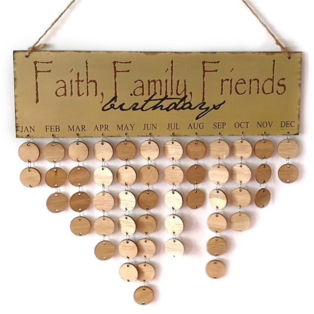 Faith Family Friend DIY Wooden Wall Hanging Decor Birthday Calendar ...