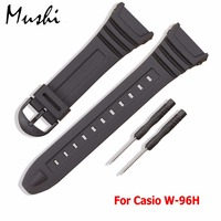 Vinband Soft Rubber Watch Band Stainless Steel Pin Buckle Watchband For Casio W 96H Sports Men