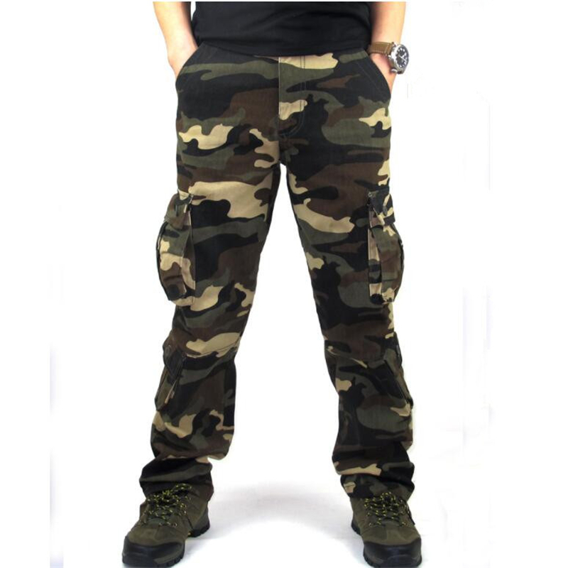 Men's Cargo Camouflage Pants Casual Multi Pockets Military Combat Trousers Overalls Cotton Straight Slacks Tactical Work Pants(China)