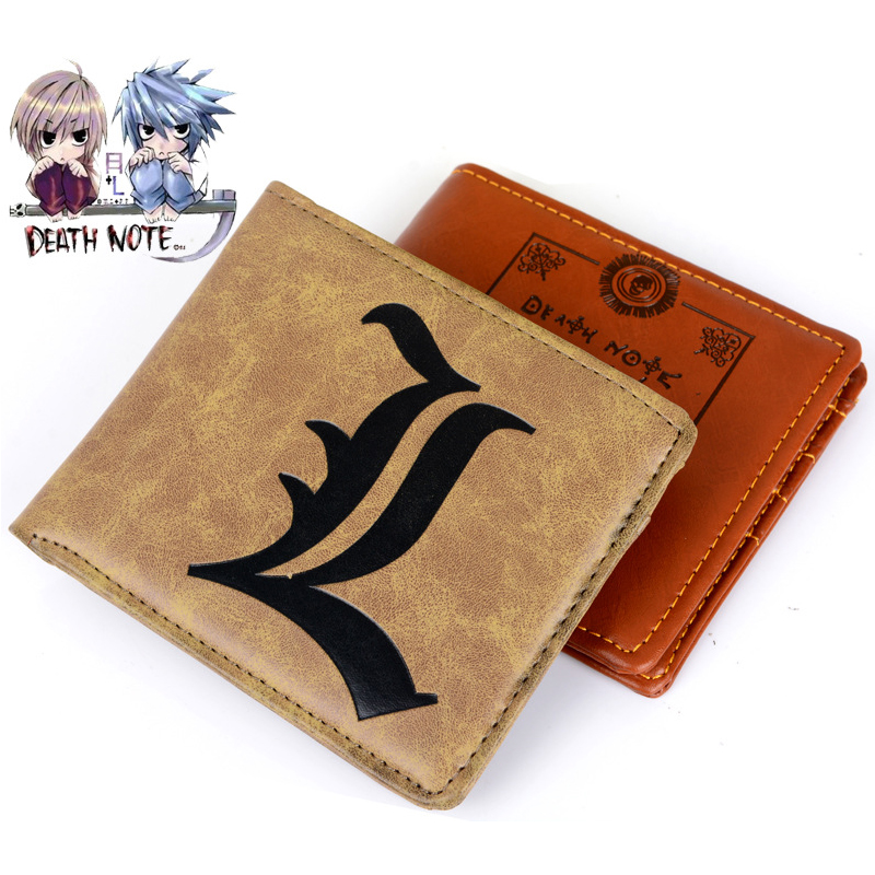 Cartoon Death Note Wallet L Logo Print Cosplay Short PU Wallets Dollar Price Card Holder Carteira Masculina sosw fashion anime theme death note cosplay notebook new school large writing journal 20 5cm 14 5cm