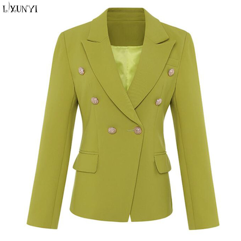 LXUNYI Autumn New Long Sleeve Blazer Feminino Double Breasted Office Coat Slim Women Blazers And jackets Metal Buckle Buttons