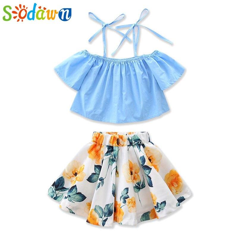 Sodawn Summer Europe And United States girls Clothing Sets Short-Sleeved Harness Shirt+Lemon Dress 2Pcs Girls Clothes