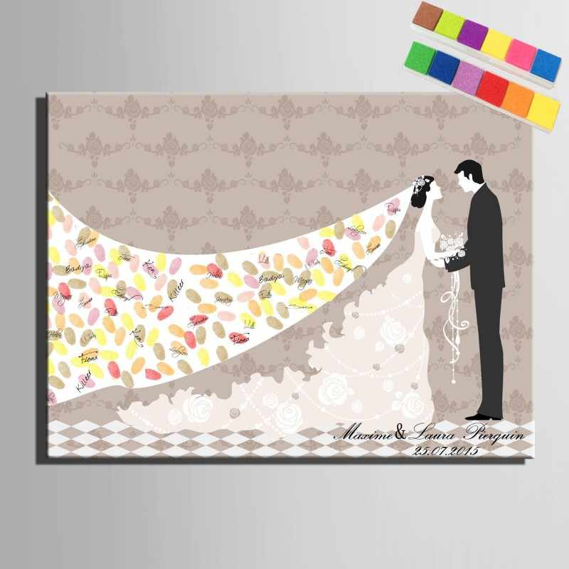 親指指紋署名キャンバス絵画バルーンツリー結婚祝いパーソナライズ結婚式の装飾diyのゲストブック