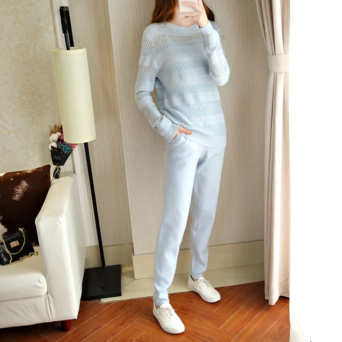 Pure Wool 2018 Winter Cashmere Sweater Women High-end Sexy Hollowed Knit Fashion Sweater And Trousers Two Pieces