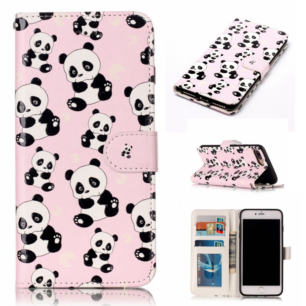 For iPhone7Plus PU Leather Relief Painted Cases For iPhone7 8 Plus Case Magnetic Flip Wallet For iPhone7 8 Cover with Stand Card