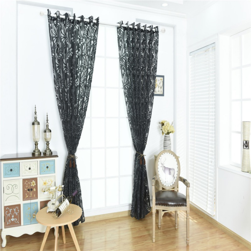 New Window Curtain Flower Print Divider Tulle Voile Drape Panel Sheer Room Curtains For Living Room