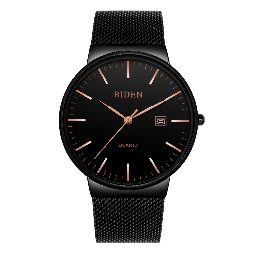 Fashion simple stylish Top Luxury brand BIDEN Watches men Stainless Steel Mesh strap band Quartz-watch thin Dial Clock man 2018 купить