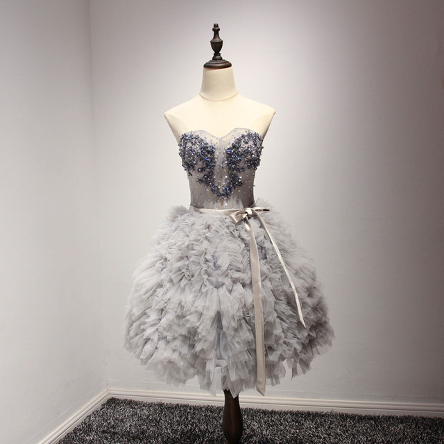 Sweetheart Prom Dresses Puffy Short Silver Beaded Tiered Skirt ...