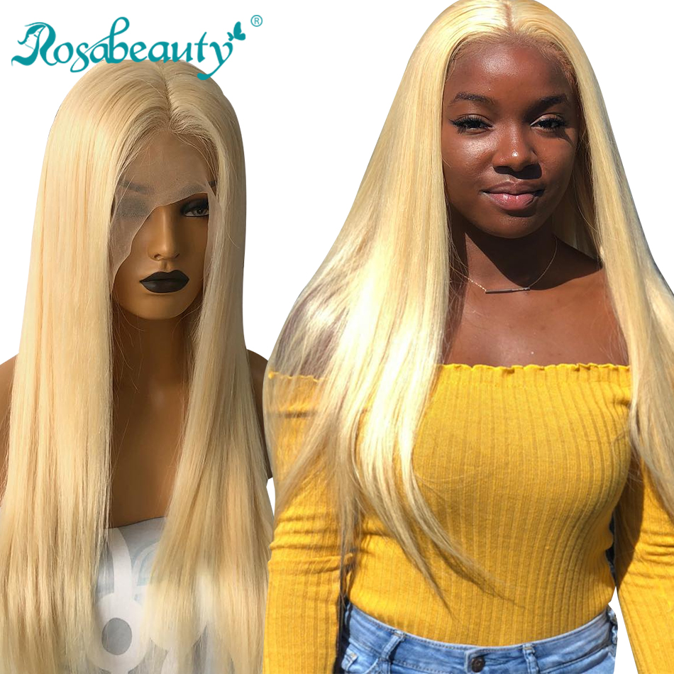 Preplucked Lace Wigs Human Hair Half 613 Blonde Straight Brazilian 13x4 Lace Front Remy Hair Wigs For Black Women Rosabeauty