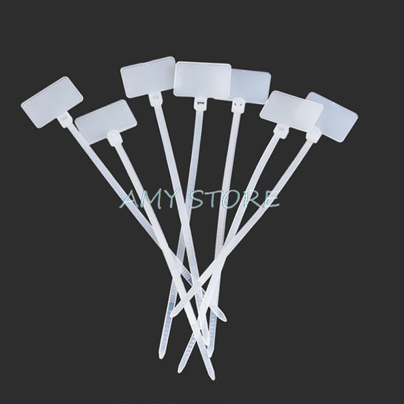 100pcs Nylon Tie Tags Self-locking Network Cable Wire Tube Pipe Zip Trim Wrap Loop Wire Straps Label