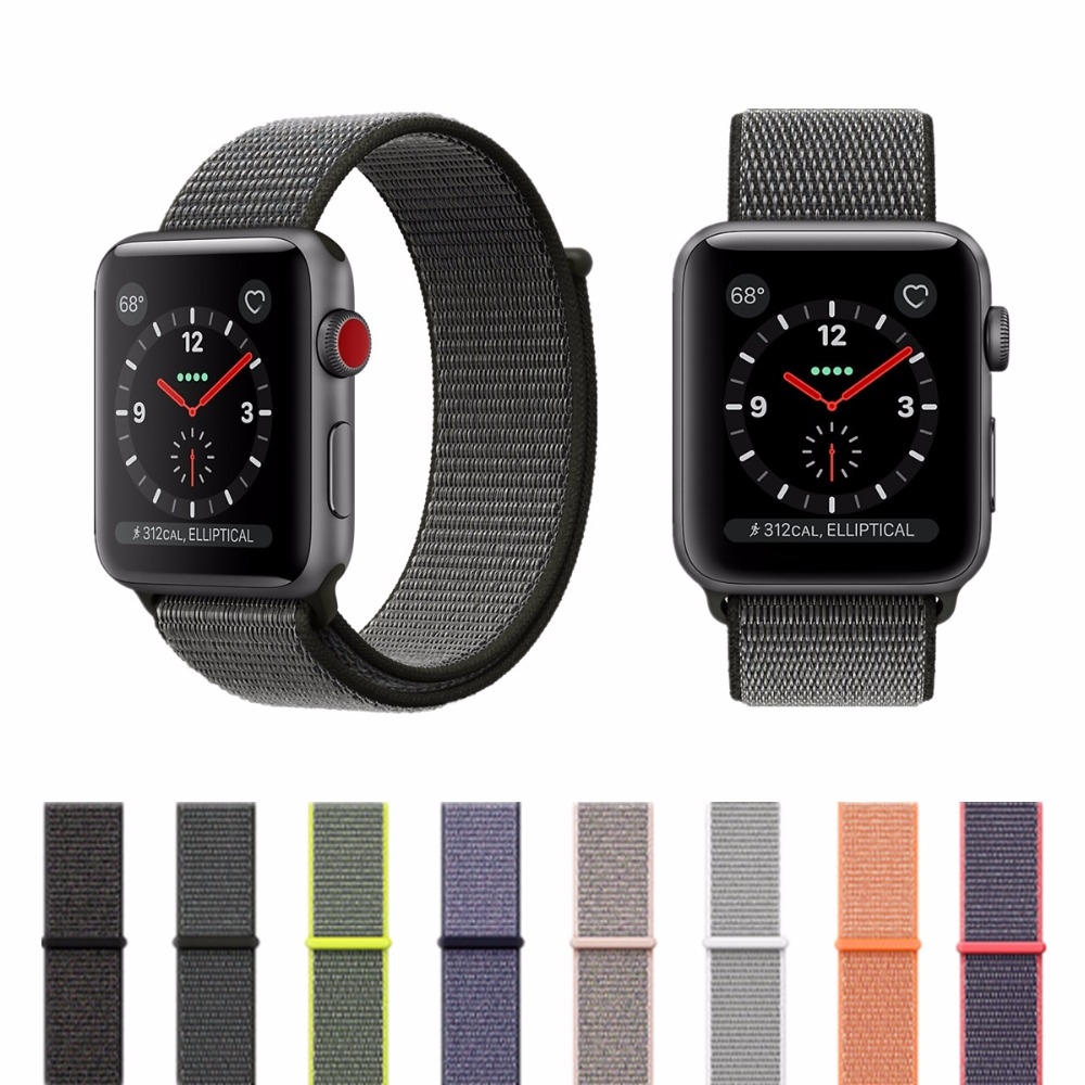 CRESTED sport loop for apple watch band 42mm 38mm iwatch 3 2 1 wrist band Bracelet Breathable Lightweight weave nylon loop strap crested nylon band strap for apple watch band 3 42mm 38mm survival rope wrist bracelet watch strap for apple iwatch 3 2 1 black