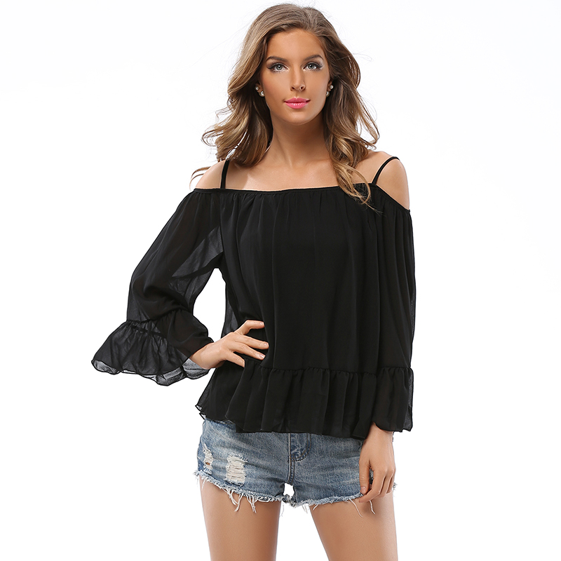 So Charm Chiffon 2017 New Summer Tank Tops Cami Cropped Blouses Lady Sexy Off Shoulder Crop