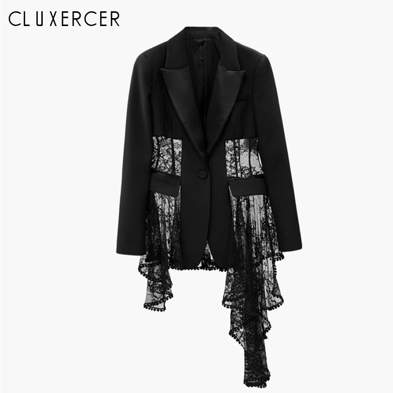 Spring Autumn Women Full Sleeves Casual Blazer Ladies Elegant Single Breasted Lace Crochet Irregular Blazer Jacket Outwears