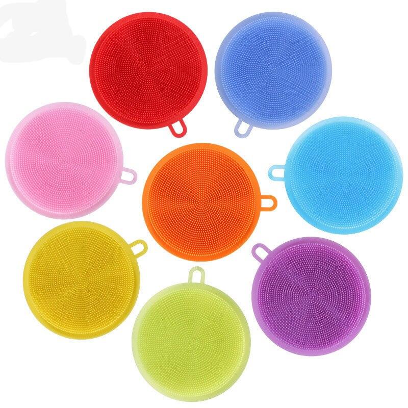 Новые силиконовые губки для мытья посуды скруббер очистки антибактериальные Кухня инстру ...