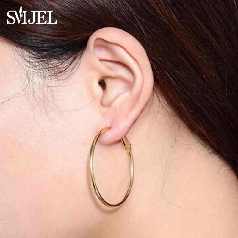Smjel Stainless Steel Besar Lingkaran Anting-Anting Hoop untuk Wanita Hip Hop Perhiasan Berlebihan Bulat Lingkaran Anting-Anting 2019 Brincos Grosir